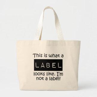 Étiquette de pièce en t de conscience grand sac