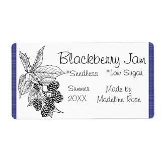 Étiquette de pot de confiture de Blackberry