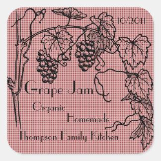 Étiquette de pot de confiture de raisin