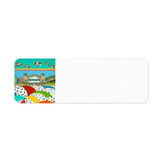 Étiquette de retour de ville d'île de mer