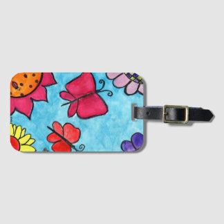 Étiquette de sac de fleurs et de papillons étiquettes bagages