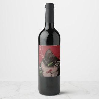 étiquette de vin de chat de smoking