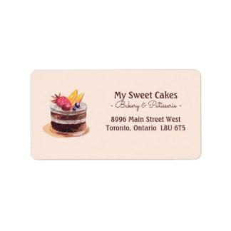 Étiquette Dessert élégant de petit gâteau de patisserie de