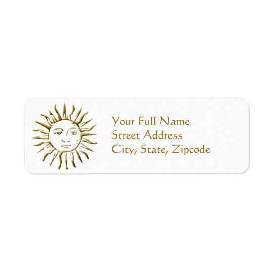 Étiquette d'or de retour d'adresse de Sun