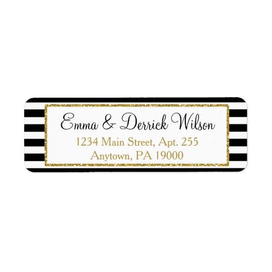 Étiquette Douche élégante d'or d'étiquettes de adresse noirs