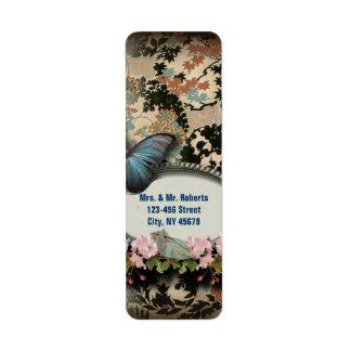 Étiquette Douche nuptiale de Paris de papillon botanique de