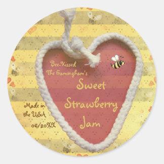 Étiquette doux de pot de confiture de fraise