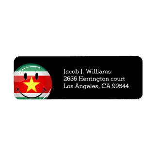 Étiquette Drapeau rond brillant du Surinam