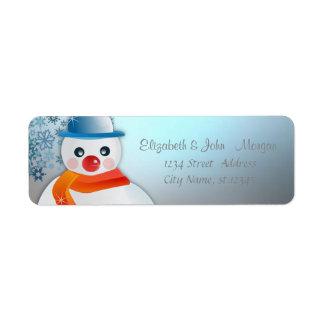 Étiquette Élégant élégant, Noël, bonhomme de neige, flocons