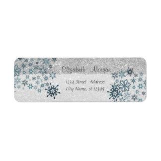 Étiquette Élégant, Noël, flocons de neige, scintillants