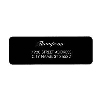 Étiquette Élégant noir élégant de nom de famille