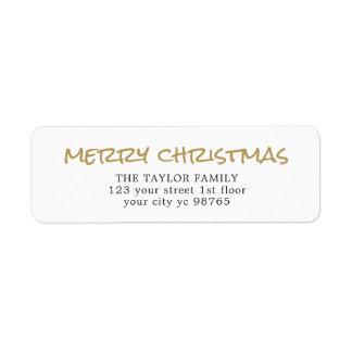 Étiquette élégant simple de Noël blanc d'or
