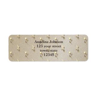 Étiquette Élégants chics d'or de motif floral gravent chic