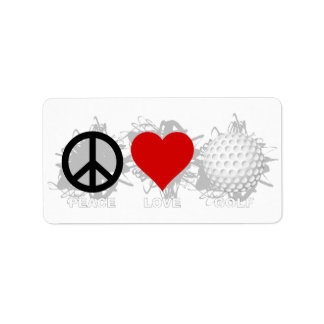 Étiquette Emblème de golf d'amour de paix