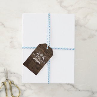 Étiquette en bois rustique de cadeau de Joyeux