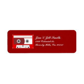 Étiquette Ensemble rouge d'enregistreur à cassettes de