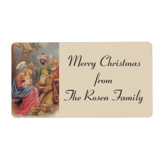 Étiquette Épiphanie de Noël les trois Rois Holy Family