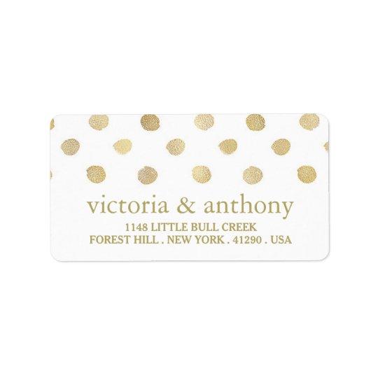 Étiquette Épouser moderne de pois de blanc et d'or