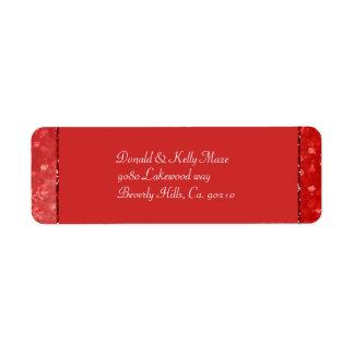 Étiquette Épouser romantique rouge et de miroitement de