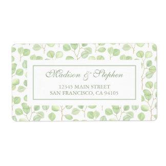Étiquette Eucalyptus de dollar en argent et branches -