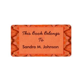 Étiquette ex-libris abstraits d'orange