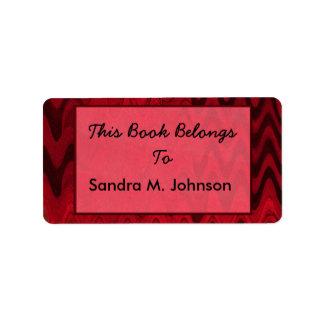 Étiquette ex-libris noirs rouges