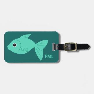 Étiquette faite sur commande de bagage de poissons étiquettes bagages