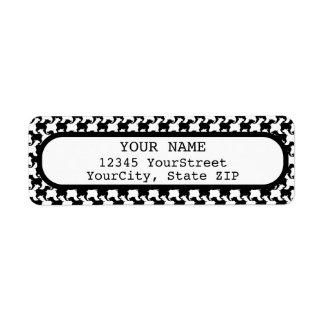 Étiquette Faux pie-De-poule avec l'adresse de retour label1