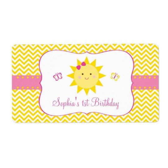 Étiquette Faveur mignonne d'anniversaire de soleil
