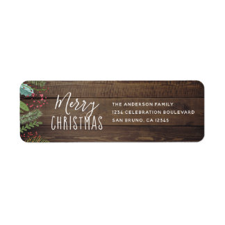 Étiquette Fête de vacances en bois rustique de Noël de houx