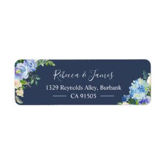 Étiquette Fleur d'aquarelle d'hortensias de bleu marine