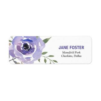 Étiquette Fleur pourpre de rose d'aquarelle chic