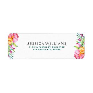 Étiquette Fleurs colorées d'aquarelles