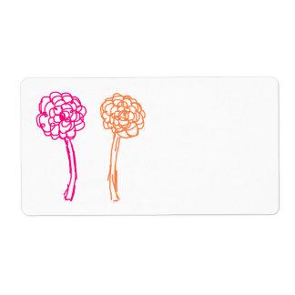 Étiquette Fleurs colorées. Rose et orange