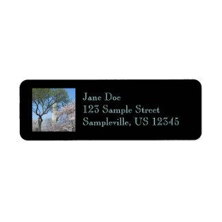 Étiquette Fleurs de cerisier et le monument de Washington