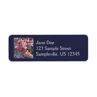 Étiquette Fleurs de cerisier et ressort rose d'abeille