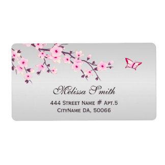 Étiquette Fleurs de cerisier florales