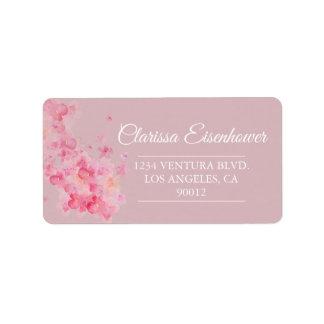 Étiquette Fleurs de cerisier roses d'aquarelle épousant