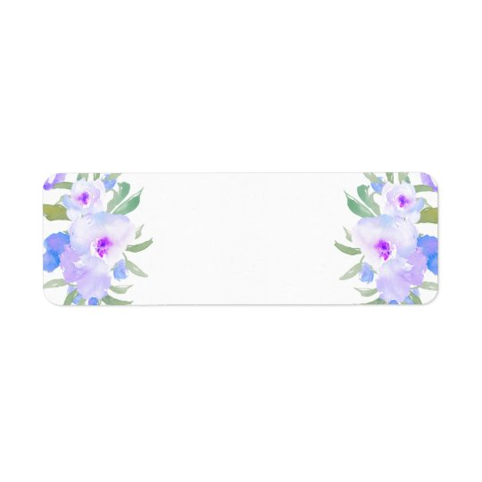Étiquette fleurs de pourpre d'aquarelle