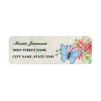 Étiquette fleurs et papillon, sur le backround lumineux