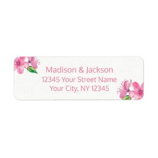 Étiquette Fleurs roses épousant l'adresse de retour de