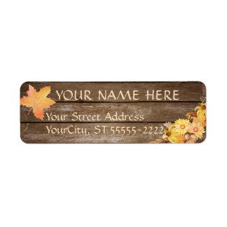Étiquette Fleurs rustiques d'automne en bois et d'aquarelle