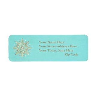 Étiquette Flocons de neige Aqua et or de Noël