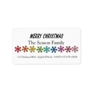 Étiquette Flocons de neige d'arc-en-ciel de Joyeux Noël