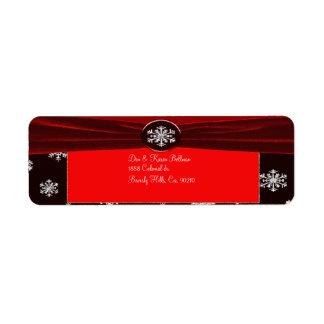 Étiquette Flocons de neige élégants noirs et rouges épousant