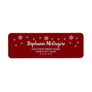 Étiquette Flocons de neige rouges de Noël de vacances