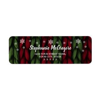 Étiquette Flocons de neige verts rouges de Noël de vacances