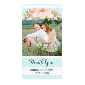 Étiquette floral de mariage de photo de pêche de
