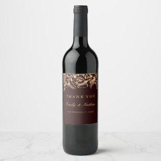 Étiquette floral de vin de mariage de Bourgogne