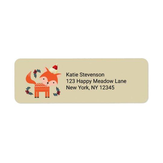 Étiquette Fox orange dans Noël lunatique mignon de casquette